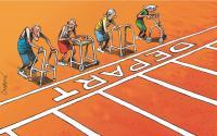Dessin de Chapatte: 4 personnes âgées font une course de déambulateur