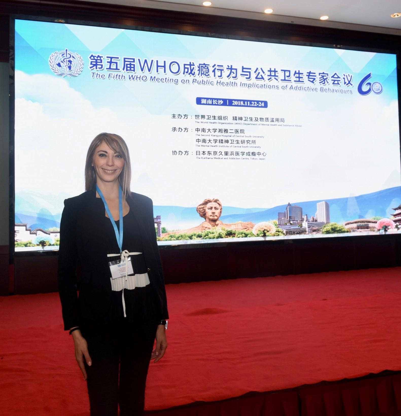 La Dre Sophia Achab à la réunion de l'OMS en Chine