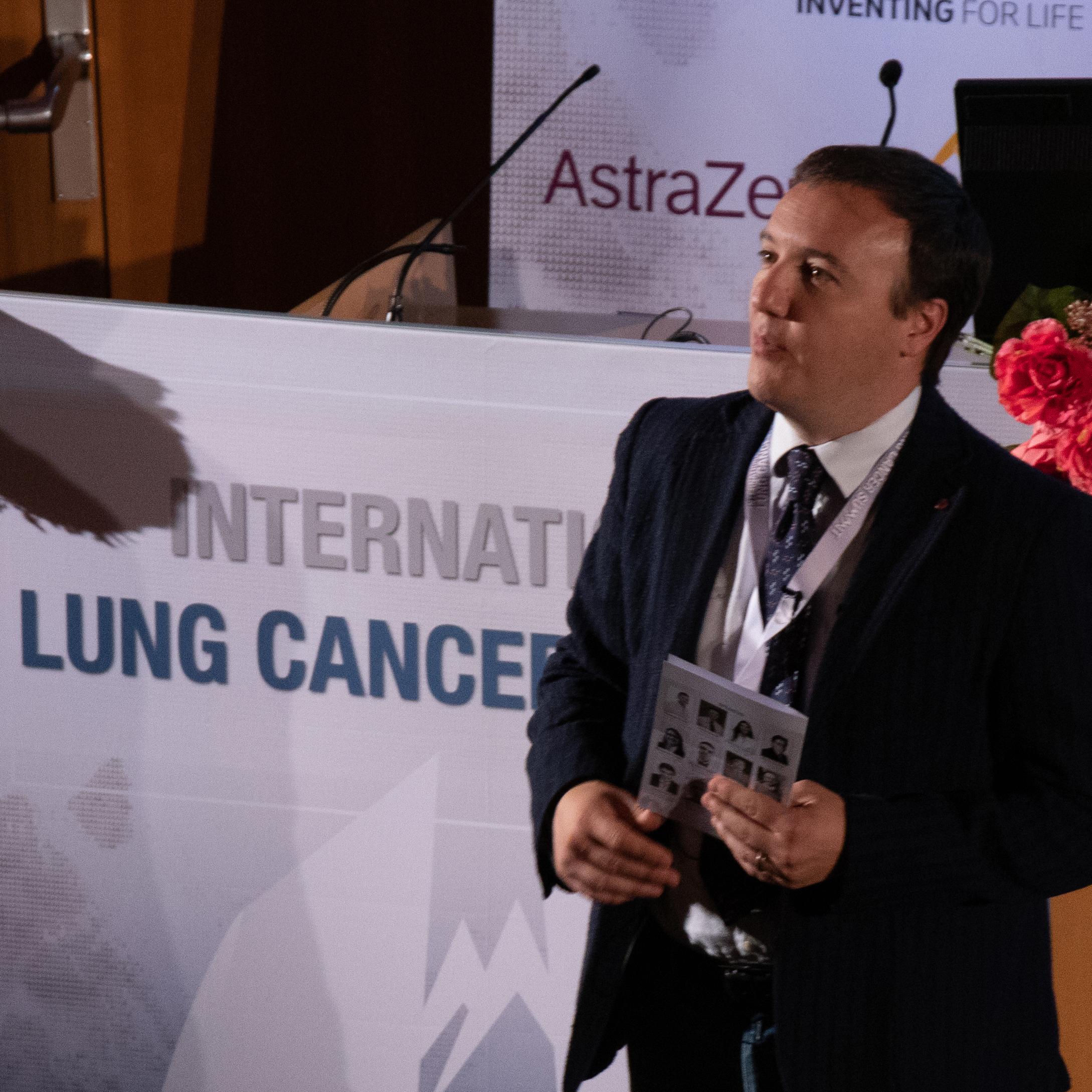 Le Dr Addeo, HUG, lors du Lung cancer summit 2019