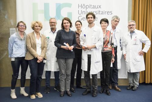 Lauréats et organisateurs de la journée 2018 de la recherche clinique aux HUG