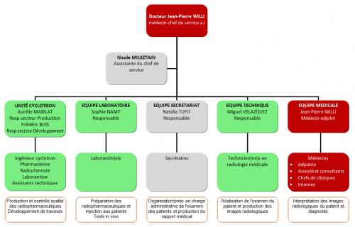 tableau d'organisation du service de médecine nucléaire et imagerie moléculaire