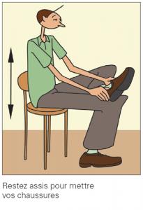 Restez assis pour mettre vos chaussures