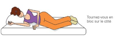 position de détente en bloc sur le côté
