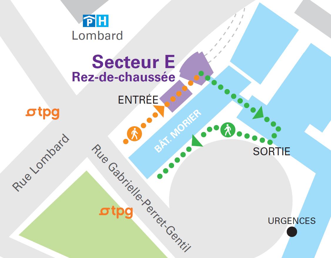 Plan d'accès au secteur E