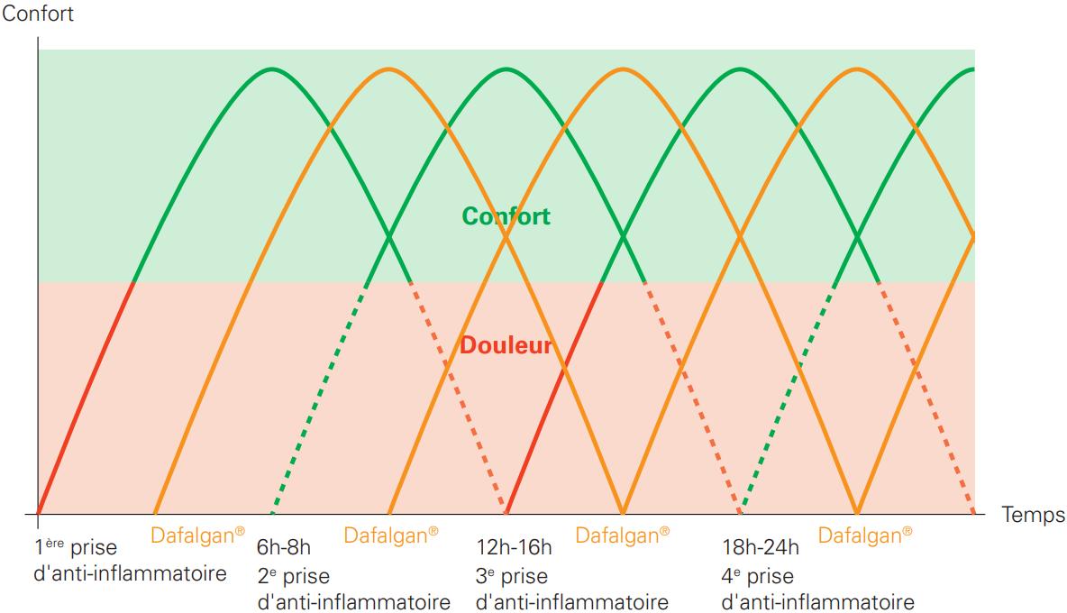 Schéma prise d'anti-inflammatoires et de paracétamol