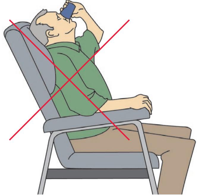 Position déconseillée pour boire ou manger
