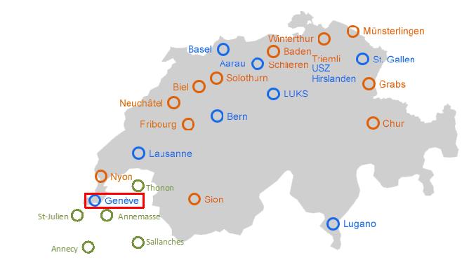 En bleu, les Centres Neurovasculaires suisses