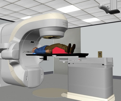 Représentation en 3D d'une salle de traitement.