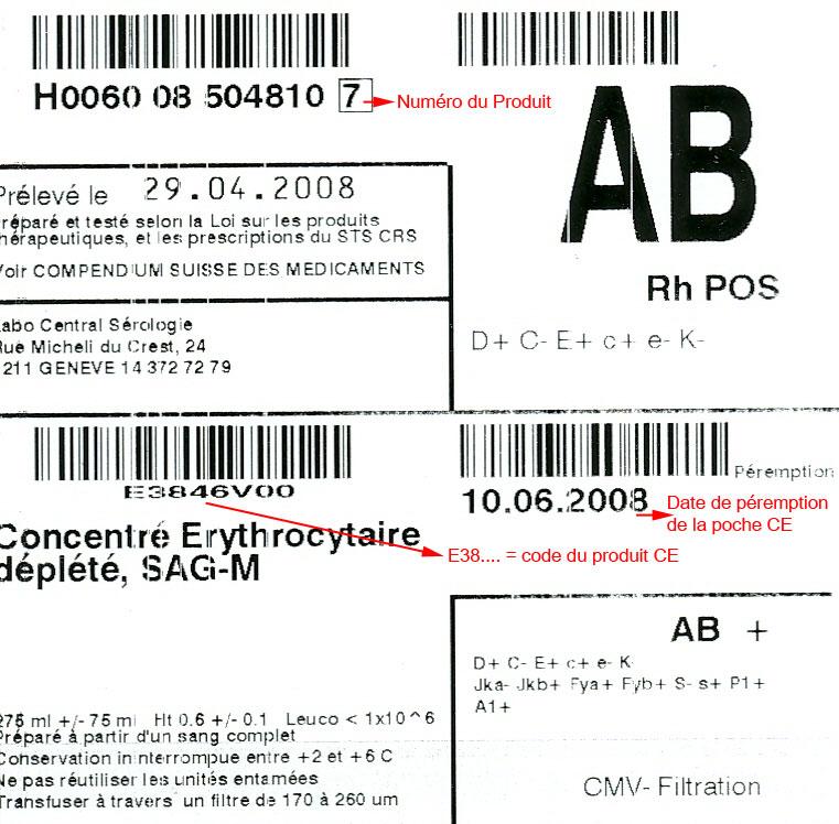 Transfusion de concentrés Erythrocytaires (CE)